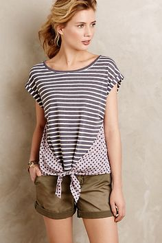 Tie-Front Tee #anthropologie. Could I duplicate this?