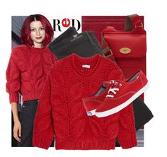 """""""Red"""" by geewhizart ❤ liked on Polyvore featuring Brunello Cucinelli, Citizens of Humanity, Mulberry and Keds"""