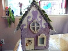 Front view of completed shabby fairy home ~Created by Nina Eary~