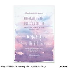 Purple Watercolor wedding invitation II These beautiful wedding invitations feature a purple watercolor background, they will fit perfectly to your elegant yet modern wedding.