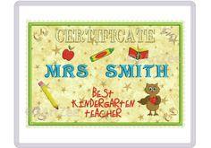 Best Kindergarten Teacher Certificate Applique Machine Embroidery Design Thank you Teacher Gift Student by 2artzee on Etsy