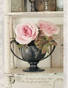 lovely roses in a rustic & tarnished silver sugar bowl