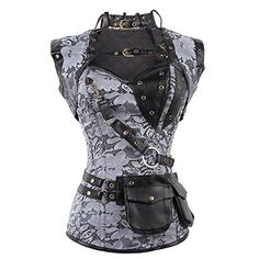 Steampunk - FeelinGirl Womens Cool Warrior Design Steel Boned Brocade Vintage Steampunk Bustiers Corsets Costumes Size S Sliver