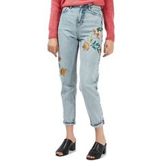 Women's Topshop Mom Embroidered Jeans