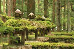 Mossy lanterns at Koyasan