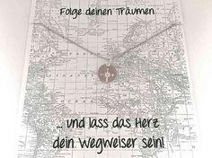 Armband Kompass mit Karte Anhänger 12mm silber von YOURuniqueSTUFF