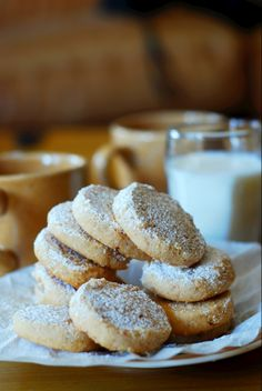 Hazelnut shortbread cookies.  Only 4 ingredients! Crumbly, buttery, melt-in-your-mouth shortbread, with a distinctive hazelnut flavor.  Great recipe for the Holidays!   JuliasAlbum.com   Christmas cookies