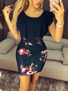 2121c5f65655c2 Shop Floral Print Flounce Trim Bodycon Dress – Discover sexy women fashion  at Boutiquefeel