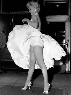 Another angle of one of the most famous photo shoots in Hollywood history, Marilyn Monroe standing over the air grate on the street.