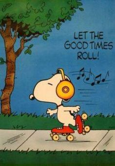 Let the good times roll! -- Snoopy, Peanuts by Charles Schulz Snoopy Love, Charlie Brown Und Snoopy, Snoopy And Woodstock, Charlie Brown Music, Peanuts Cartoon, Peanuts Snoopy, Snoopy Cartoon, Snoopy Quotes, Good Times Roll