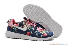 reputable site 02a26 a61bc Baratas  UW12400105  Zapatillas Running Nike Roshe Run Print Mujer Blanco  Azul Oscuro Flor Blaue