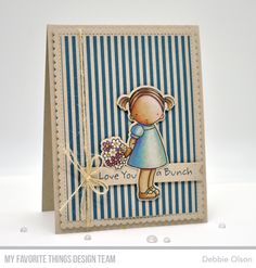 Stamps: PI Love You a Bunch  Die-namics: PI Love You a Bunch, Blueprints 27, Stitched Sentiment Strips    Debbie Olson    #mftstamps