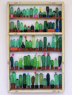 plastic bottle art turned into cactus wall display - upcycle diy craft ideas from Upcycle That