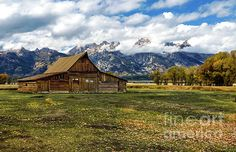 Stunning Rustic Old Mormon Teton Barn Landscape - Here is atmospheric image of a antique solitary rustic, barn located in the valley & shadow of the nearby Teton mountains. Several old buildings are still standing in an area known as Mormon Row. Storms were brewing  and moments later we had some rain. Soon those clouds will hereld snow, but in October when this landscape photo was taken, there are still some vestiges of Fall color, soon gone.  Norma Brandsberg nbrandsberg@gmail.com
