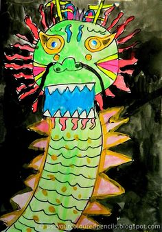 Watercolor painting project- Chinese Dragons. Use Your Coloured Pencils: painting