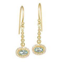 Oval Faceted Soft Blue Aquamarine Diamond Handmade Gold Pendulum Earrings