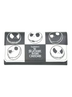 Flap wallet from The Nightmare Before Christmas with a checkered Jack heads design.Includes card slots, zipper pocket and snap-button closure.