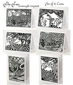 Zentangle Cards Fly Free Set of 6 by ozwildlifestudio on Etsy
