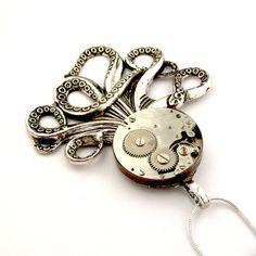 Silver Octopus Pendant  The Brainiacs Steampunk by SteamSect, $50.00 Octopus Jewelry, Steampunk Octopus, Pocket Watch, Jelly, Cufflinks, Pendants, Unique Jewelry, Handmade Gifts, Silver