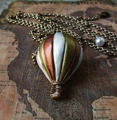 Vintage Voyage Hot Air Balloon Charm Necklace by HeartworksByLori