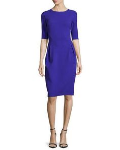 W0C1N Oscar de la Renta Half-Sleeve Jewel-Neck Pencil Dress, Cobalt