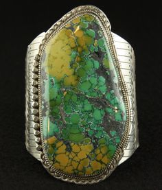 Massive Sterling Cuff with Variscite Slab from Canyon Dreams Gallery on Ruby Lane