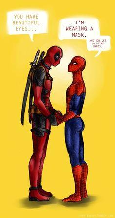 Wade Wilson and Peter Parker Deadpool and Spiderman Spideypool Marvel Jokes, Marvel Funny, Marvel Dc Comics, Marvel Heroes, Marvel Avengers, Spideypool, Superfamily, Deadpool X Spiderman, Durarara