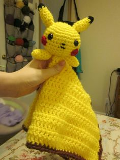 Ravelry: Pikachu Lovey pattern by Katie Stevens Crochet Security Blanket, Lovey Blanket, Baby Blanket Crochet, Crochet Baby, Knit Crochet, Snuggle Blanket, Crochet Crafts, Crochet Dolls, Crochet Projects
