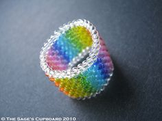 Celebration Ring by The Sage's Cupboard--peyote stitch