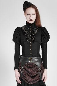 Schwarze Bluse mit Puffärmeln und Rüschenkragen