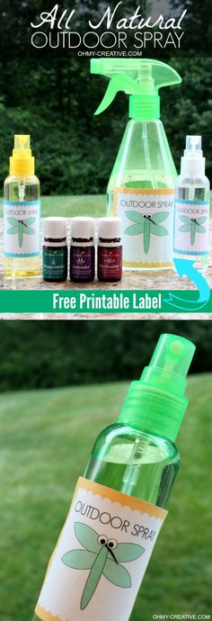 Outdoor bug spray recipe with free printable label