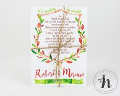 "Invitatii nunta handmade, rustice, cu flori in acuarela – ""DOROTHEA"""