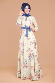Dijital Baskılı Bahar Elbise Haki Ürün Kodu:  OBN319--> 139.90 TL