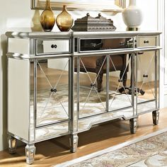 Mirrored Three Drawer Four Door Console Chest by Powell Furniture
