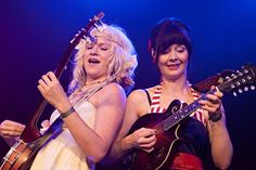 Musicians Solveig Heilo and Anne Marit Bergheim of Katzenjammer perform on stage during Cambridge Folk Festival at Cherry Hinton Hall on July 31, 2011 in Cambridge, United Kingdom. (Philip Ryalls)