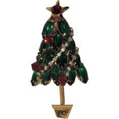 Glass, Rhinestone Garland & Crystal Ornaments Christmas Tree Pin ~ Book PIece