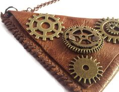 Steampunk Hand Stitched Leather Neck Wallet Hippie Coin Purse Medicine Pouch #etsy #forsale #tannerandearth