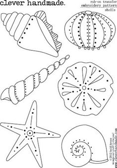 Clever Handmade - Embroidery Patterns - Rub Ons - Shells