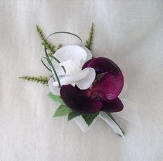WEDDING FLOWERS - ORCHID BUTTONHOLE CORSAGE IN PURPLE AND WHITE, BRIDES