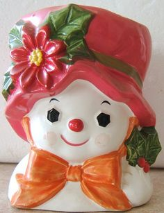 Look what I found on @eBay! http://r.ebay.com/G59rSb Vintage CHRISTMAS SNOW LADY RED POINSETTIA Ceramic CANDLEHOLDER NAPCO X 8832