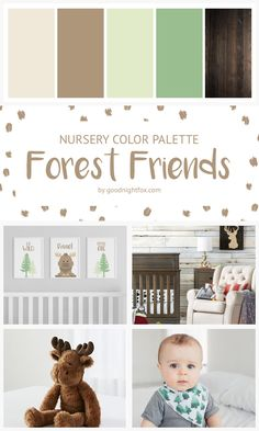 Forest Friends Nursery Color Palette | Check out this great nursery collection for decor tips for a woodland themed room. #campfire #nurserydecor #colorpalette #forest #moose #babyroom