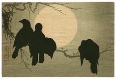 Korin Ogata 1658-1716 - Crows and the Moon - artelino Art Auctions.