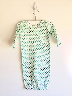 Baby Gown Green Dots...