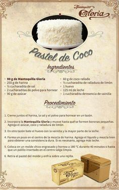 Pastel d coco Mexican Food Recipes, Sweet Recipes, Cake Recipes, Dessert Recipes, Cupcakes, Cake Cookies, Cupcake Cakes, Just Desserts, Delicious Desserts