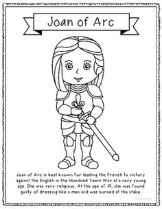 joan of arc coloring page craft or poster with mini biography france