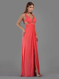 Βραδινό μακρύ φόρεμα με ανοιχτή πλάτη και σκίσιμο μπροστά - Βραδυνά Φορέματα