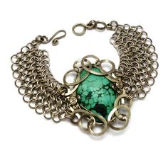 Wire Wrap Chainmaille Bracelet with Turquoise stone by Hyppiechic, $62.00
