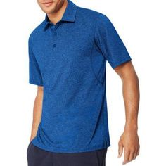 Hanes Sport Men's Heathered Performance Polo, Size: Small, Blue