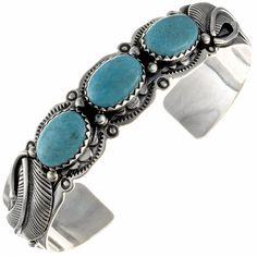 Kingman Turquoise Ladies Cuff Navajo Silver Bracelet