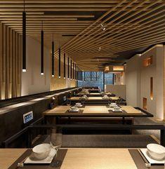 Kawa Japanese Restaurant in London by Golucci International Design Japanese Restaurant Interior, Japanese Interior Design, Restaurant Interior Design, Shop Interior Design, Cafe Design, Deco Restaurant, Modern Restaurant, Restaurant Lighting, Restaurant Concept